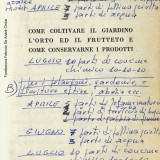 Appunti di Fabrizio De André sulla coltivazione delle crucifere (Fondazione Fabrizio De André Onlus)