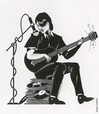 Fabrizio visto da Giorgio Carpinteri, 1990. Dalla mostra «Segni De André» e volume omonimo a cura di Vincenzo Mollica, Edizioni Di, 1999.