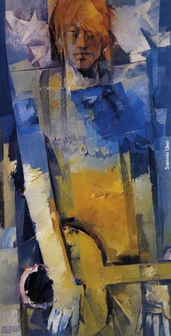 Fabrizio visto da Sisinnio Usai, olio su tela (120 x 60 cm), 1997. Da«Appunti dipinti per le storie cantate di Fabrizio De André», Soter Editrice, 1997.