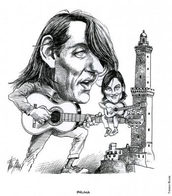 Fabrizio visto da Franco Bruna, 1999.Dalla mostra «Segni De André» e volume omonimo a cura di Vincenzo Mollica, Edizioni Di, 1999.