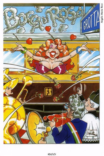 Angelo Maria Ricci, «Bocca di rosa», 1999. Dalla mostra «Segni De André» e volume omonimo a cura di Vincenzo Mollica, Edizioni Di, 1999.