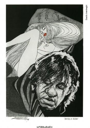 Danilo Interlenghi, «Bocca di rosa»,1999.Dalla mostra «Segni De André» e volume omonimo a cura di Vincenzo Mollica, Edizioni Di, 1999.