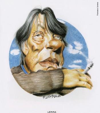 Fabrizio visto da Francesco Lemma,1999.Dalla mostra «Segni De André» e volume omonimo a cura di Vincenzo Mollica, Edizioni Di, 1999.