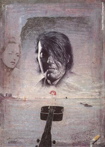 Geppo Monzio Compagnoni, «A Fabrizio De André», acrilico su tavola, 1999. Da Luigi Cortesi, «Geppo... un pennello per l'ironia e il cantare nuovo», Edizioni Grafica Monti, 1999.