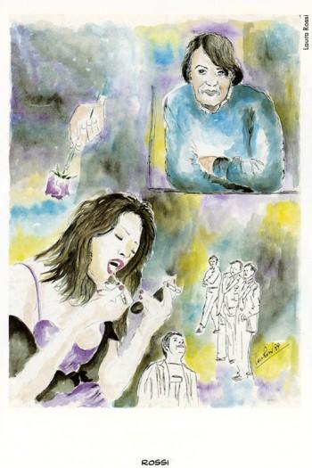 Fabrizio visto da Laura Rossi, 1999. Dalla mostra «Segni De André» e volume omonimo a cura di Vincenzo Mollica, Edizioni Di, 1999.