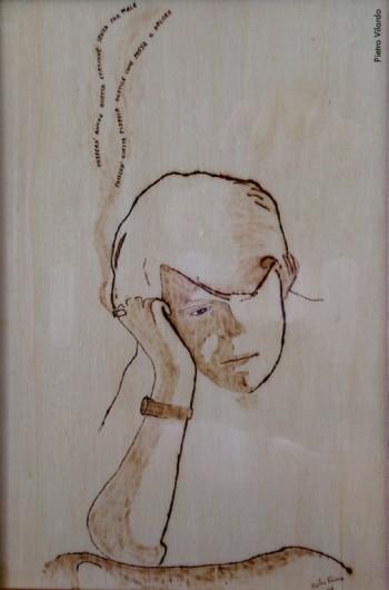 Fabrizio visto da Pietro Vilardo, pirografia su legno, 2006