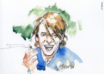 Fabrizio visto da Ivo Milazzo, 2008. Dalla mostra «Le nuvole di De André»a cura di Vincenzo Mollicae pubblicazione omonima , Edizioni Di, 2009.