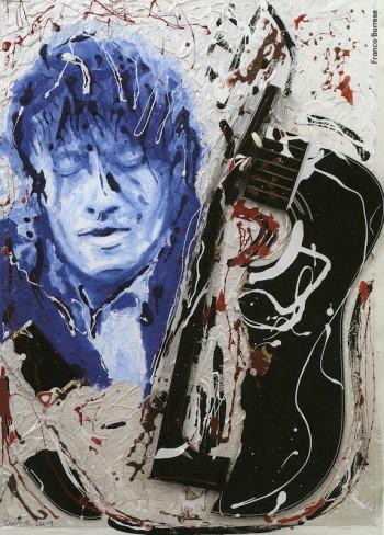 Fabrizio visto da Franco Barrese, 2009. Dalla mostra «Le nuvole di De André»a cura di Vincenzo Mollicae pubblicazione omonima, Edizioni Di, 2009.