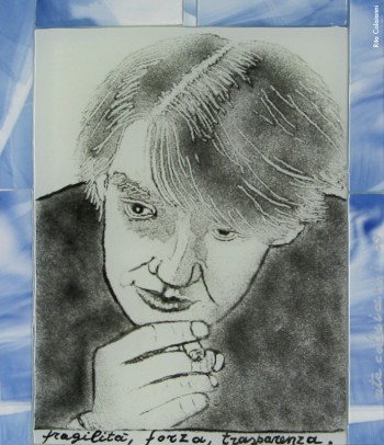 Fabrizio visto da Rita Colaianni, ritratto in vetro (20x26), 2009