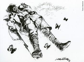 Tanino Liberatore, 2009.Dalla mostra «Le nuvole di De André»a cura di Vincenzo Mollicae pubblicazione omonima, Edizioni Di, 2009.