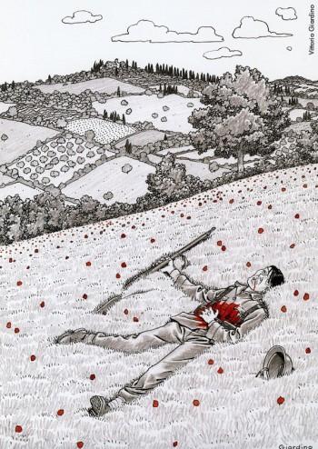 Vittorio Giardino, 2009.Dalla mostra «Le nuvole di De André»a cura di Vincenzo Mollicae pubblicazione omonima, Edizioni Di, 2009.