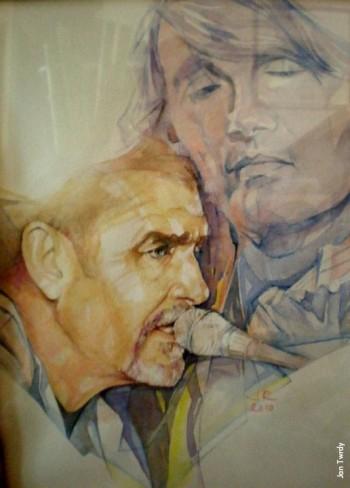 Jan Twrdy (Kinnara), «Paolo canta Fabrizio», acquarello, 2010