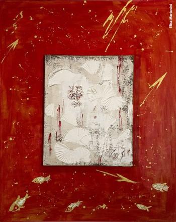 Elisa Marianini, «L'albero della neve fiorito di stelle rosse», Encausto, colori acrilici e metallici, 100 x 80, 2011
