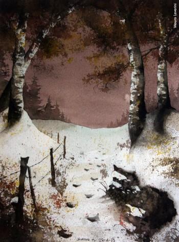 Mauro Lavarini, «Il paesaggio» , acquarello, 2013