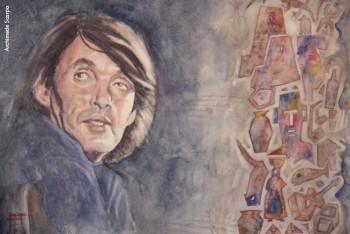 Fabrizio visto da Archimede Scarpa, «Buon Complenno Faber 2014» , acquerello su carta