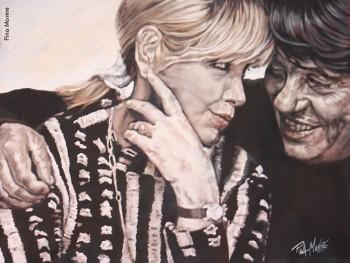 Fabrizio e Dori visti da Pina Monne, Festival «Buon Compleanno Faber 2014», acrilico su tela
