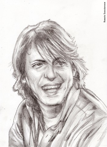 Rosario Scaccianoce, «Ritratto di Fabrizio De André», matita su carta, 2014