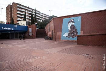 Murales di Daniele Tozzi, Stazione Metro Rebibbia di Roma, 2015