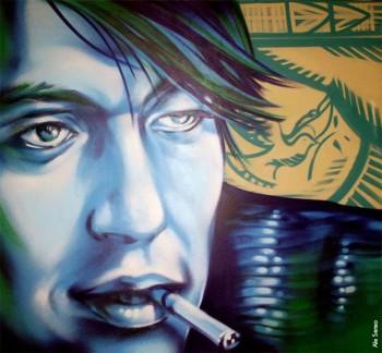 Graffito-ritratto su muro di Fabrizio De André realizzato da Ale Senso, a cura di Arcibloom, Bergamo, 2013